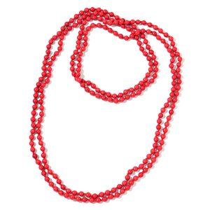 Red Howlite Beads Endless Necklace (100 in) TGW 824.50 cts.