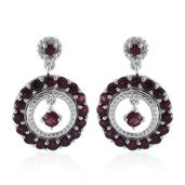 Anthill Garnet Platinum Over Sterling Silver Earrings TGW 2.52 cts.
