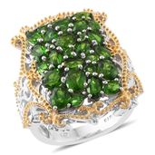 Russian Diopside 14K YG and Platinum Over Sterling Silver Cluster Ring (Size 7.0) TGW 6.29 cts.