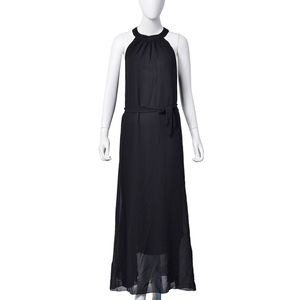 Black 100% Polyester Sleeveless Mock Neck Off Shoulder A-Line Sundress with Waistband Tie (Large)