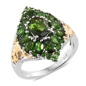 Russian Diopside 14K YG and Platinum Over Sterling Silver Cluster Ring (Size 9.0) TGW 4.19 cts.