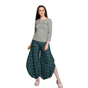 Navy and Turquiose Paisley Print 100% Polyester High-waist Elastic Back Palazzo Pants