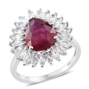 Niassa Ruby, White Topaz Platinum Over Sterling Silver Ring (Size 6.0) TGW 7.92 cts.