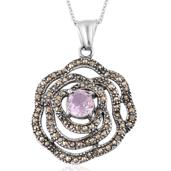 Rose De France Amethyst, Swiss Marcasite Stainless Steel Pendant With Chain (20 in) TGW 2.50 cts.