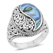 Bali Legacy Collection Abalone Shell Sterling Silver Ring (Size 7.0)