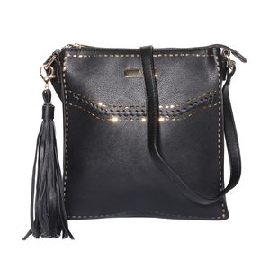 Black Faux Leather Crossbody Messenger Bag with Removable Tassel Key Chain (11x.5x10 in)