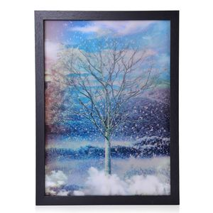 3D Beauty of the Four Seasons Tree Painting with Photo Frame (17x13 in)