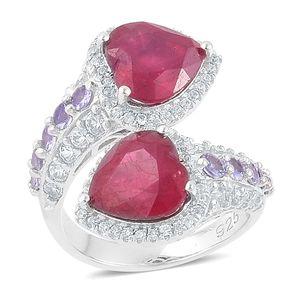 Niassa Ruby, Tanzanite, White Zircon Sterling Silver Heart Bypass Ring (Size 7.0) TGW 9.10 cts.
