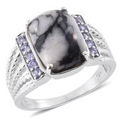Austrian Pinolith, Tanzanite Platinum Over Sterling Silver Ring (Size 7.0) TGW 8.59 cts.