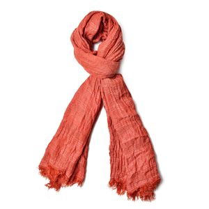 Cognac 100% Polyester Ikat Pattern Scarf (80x36 in)