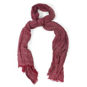 Wine Red 100% Polyester Ikat Pattern Scarf (80x36 in)