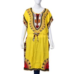 Yellow 100% Polyester Bohemian Print Dress with Adjustable Waistband (S/L)