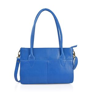 Blue Genuine Leather RFID Tote Convertible Sling Bag (12.5x3.25x8.75 in)