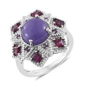 Burmese Purple Jade, Multi Gemstone Platinum Over Sterling Silver Ring (Size 7.0) TGW 6.54 cts.