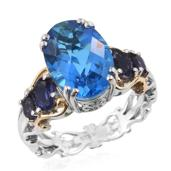 Caribbean Quartz, Catalina Iolite 14K YG and Platinum Over Sterling Silver Ring (Size 8.0) TGW 8.01 cts.