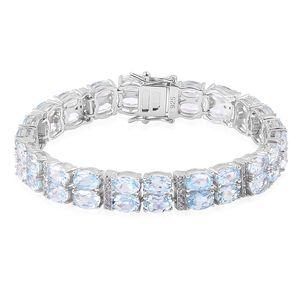 Sky Blue Topaz, White Zircon Sterling Silver Bracelet (7.50 In) TGW 29.00 cts.