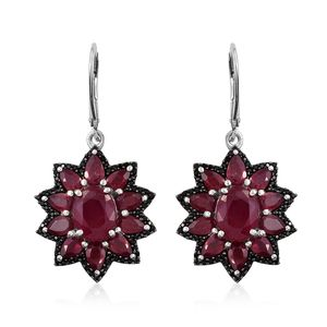 Niassa Ruby, Thai Black Spinel Platinum Over Sterling Silver Lever Back Flower Earrings TGW 12.94 cts.
