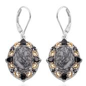 Austrian Pinolith, Thai Black Spinel 14K YG and Platinum Over Sterling Silver Lever Back Earrings TGW 16.88 cts.