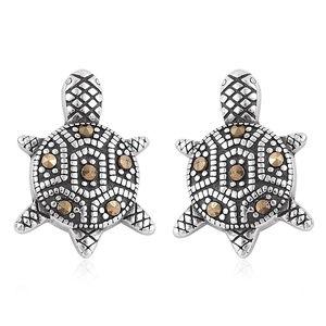 Swiss Marcasite Black Oxidized Stainless Steel Turtle Stud Earrings TGW 1.00 cts.