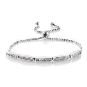 Diamond Platinum Over Sterling Silver Bracelet TDiaWt 0.48 cts, TGW 0.48 cts.