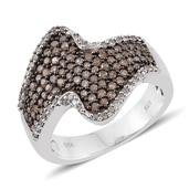 Champagne Diamond, Diamond Platinum Over Sterling Silver Ring (Size 8.0) TDiaWt 1.00 cts, TGW 1.00 cts.