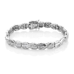 Diamond Platinum Over Sterling Silver Criss Cross Bracelet (7.50 In) TDiaWt 2.00 cts, TGW 2.00 cts.