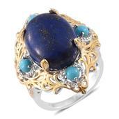 Lapis Lazuli, Arizona Sleeping Beauty Turquoise, Cambodian Zircon 14K YG and Platinum Over Sterling Silver Ring (Size 10.0) TGW 21.04 cts.