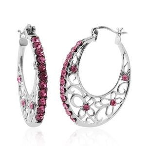 Stainless Steel Hoop Earrings Made with SWAROVSKI Rose Crystal