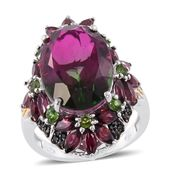 Watermelon Quartz, Multi Gemstone 14K YG and Platinum Over Sterling Silver Floral Elongated Ring (Size 10.0) TGW 18.42 cts.