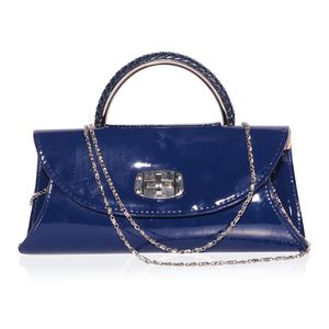 Glossy Navy Faux Patent Leather Envelope Crossbody Bag with Removable Chain Strap (59 in) (10x2x4.5 in)