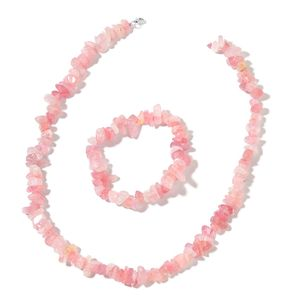 Galilea Rose Quartz Sterling Silver Bracelet (Stretchable) and Necklace (18.00 In) TGW 404.50 cts.