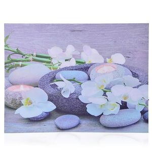 Stone Candle Holder Pattern Wall Art with LED Light & Canvas Print (16x12 in) (AA Battery Not Included)