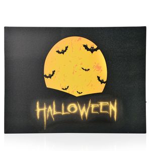Halloween Pattern Wall Art with LED Light & Canvas Print (16x12 in) (AA Battery Not Included)