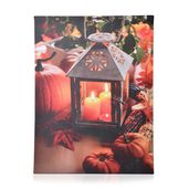 Candle and Pumpkin Pattern Wall Art with LED Light & Canvas Print (16x12 in) (AA Battery Not Included)
