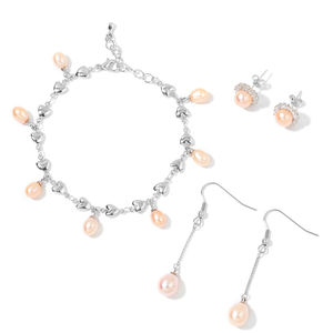 Freshwater Peach Pearl, Simulated Diamond Silvertone Charm Bracelet (6.50 In) and Set of 2 Earrings TGW 1.50 cts.
