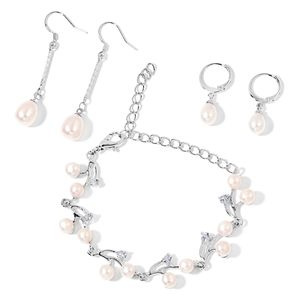 Freshwater Pearl - White, Simulated White Diamond Silvertone Bracelet and Set of 2 Dangle & Drop Earrings TGW 3.00 cts.