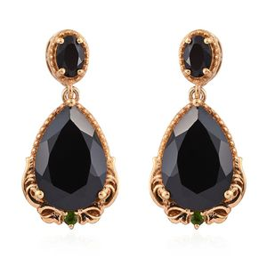 Thai Black Spinel, Russian Diopside 14K YG Over Sterling Silver Dangle Earrings TGW 16.77 cts.