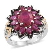 Fissure Filled Ruby, Thai Black Spinel Platinum Over Sterling Silver Ring (Size 10.0) TGW 8.50 cts.