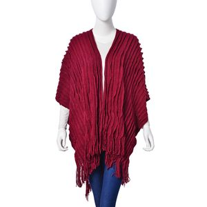 Maroon Pleated 100% Acrylic Fringe Ruana (One Size)