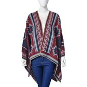 Reversible Red and Blue 70% Acrylic & 30% Polyester Santa Fe Style Pattern Kimono (One Size)