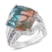 Aqua Terra Costa Quartz, Tanzanite, Cambodian Zircon Platinum Over Sterling Silver Ring (Size 10.0) TGW 18.94 cts.