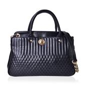 Black Faux Leather Quilted Pattern Tote Bag (13.2x5.2x9 in)