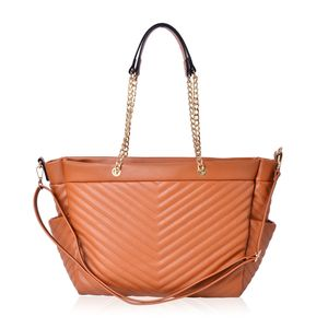 Camel Quilted Chevron Pattern Faux Leather Trapezoid Shoulder Bag with Removable Strap (17x6x11 in)