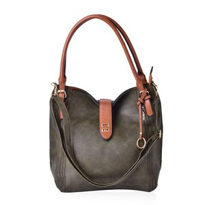 Dark Green Faux Leather Hobo Bag (17x4.5x14 in)