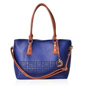 Blue and Brown Faux Leather Tote Bag (14.5x5.5x11 in)