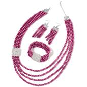Simulated Fuchsia Pearl, White Austrian Crystal Silvertone Bracelet (Stretchable), Earrings and Necklace (24.00 In)