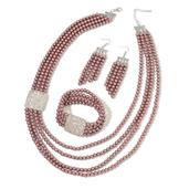 Simulated Mauve Pearl, White Austrian Crystal Silvertone Bracelet (Stretchable), Earrings and Necklace (24.00 In)