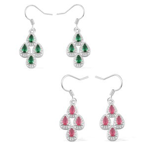 Set of 2 Simulated Red and Green Diamond Silvertone Earrings TGW 8.00 cts.