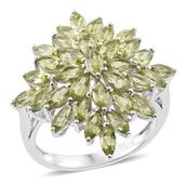 Hebei Peridot Platinum Over Sterling Silver Cluster Ring (Size 9.0) TGW 5.75 cts.