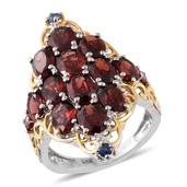 Mozambique Garnet, Kanchanaburi Blue Sapphire, Cambodian Zircon 14K YG and Platinum Over Sterling Silver Openwork Elongated Ring (Size 6.0) TGW 11.71 cts.